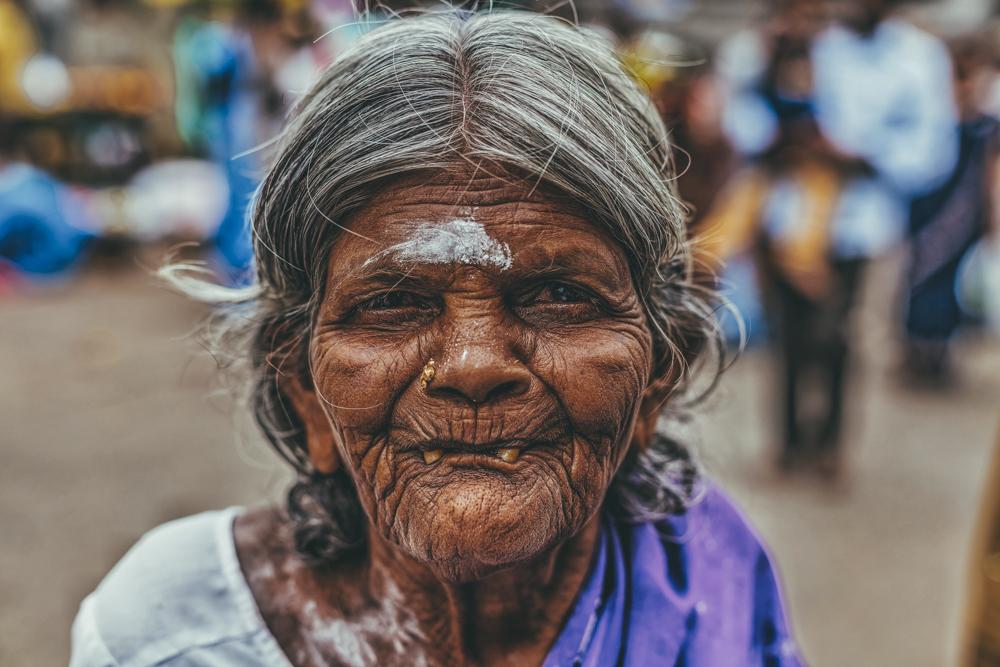 Portrait d'une vieille femme, Kanchipuram Tamil Nadu